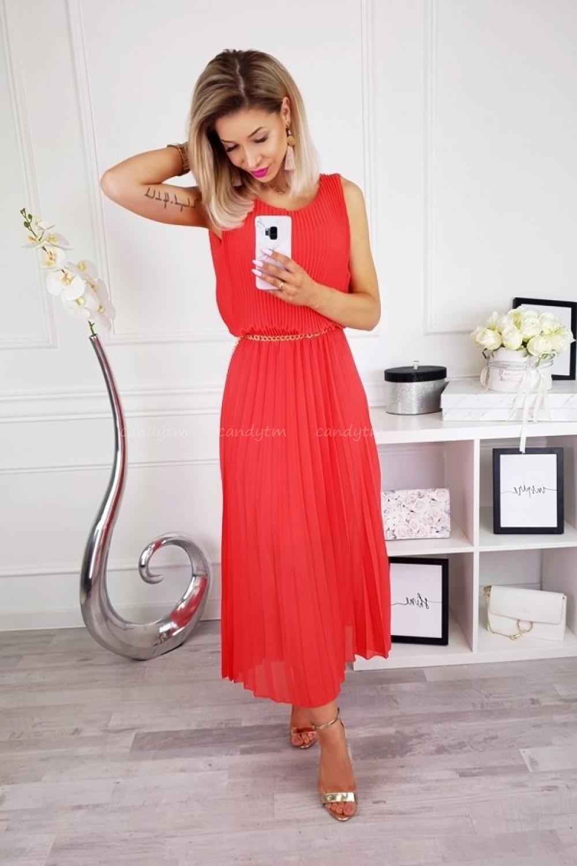 030501559e SUKIENKA PLISOWANA MAXI MALINA - Sklep z odzieżą damską - CandyTM