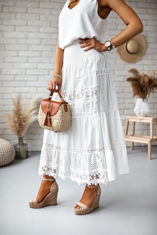 długa damska spódnica maxi biała koronkowa bawełniana