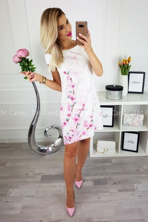 TEARDROP DRESS CREME WTH PINK FLOWERS