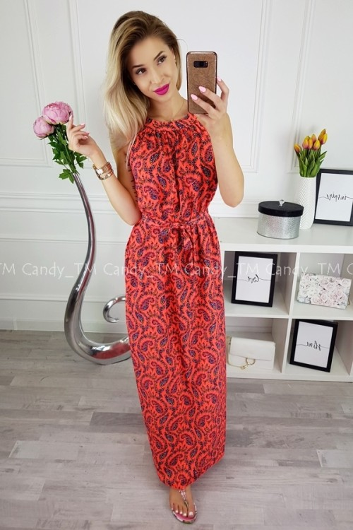 MAXI DRESS GOMERA NEON ORANGE