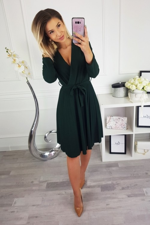 PLEATED WRAP DRESS BOTTLE GREEN