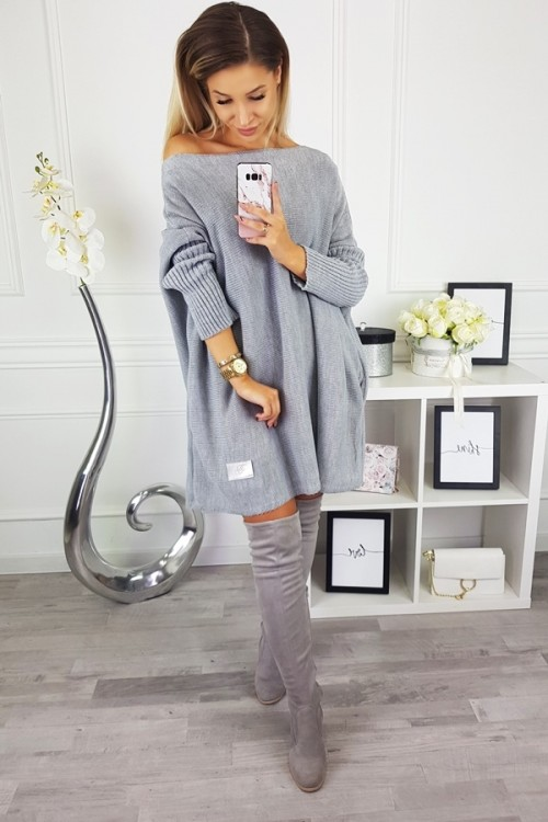 CARDIGAN SWEATER ITALY GREY