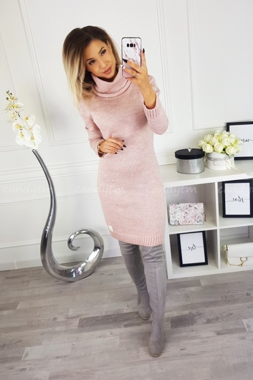 SWEATER/DRESS WITH TURTLENECK CANDY POWDER PINK 2