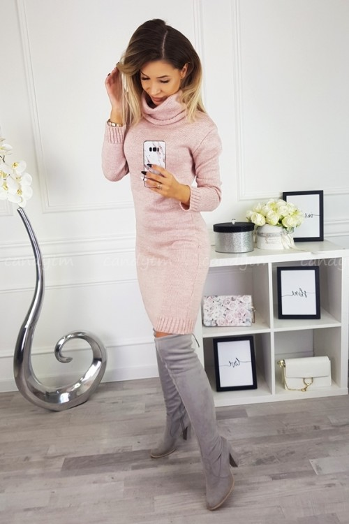 SWEATER/DRESS WITH TURTLENECK CANDY POWDER PINK 3