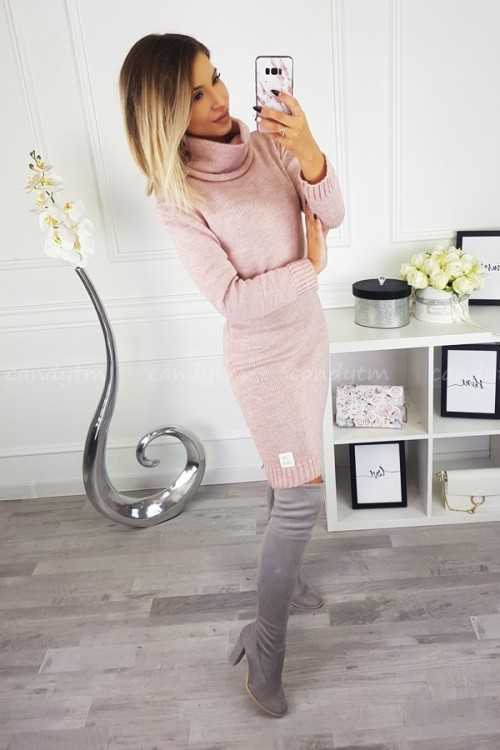 SWEATER/DRESS WITH TURTLENECK CANDY POWDER PINK 4