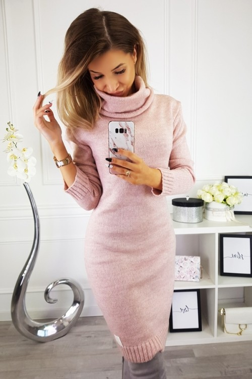 SWEATER/DRESS WITH TURTLENECK CANDY POWDER PINK 1