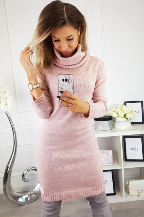 SWEATER/DRESS WITH TURTLENECK CANDY POWDER PINK 5