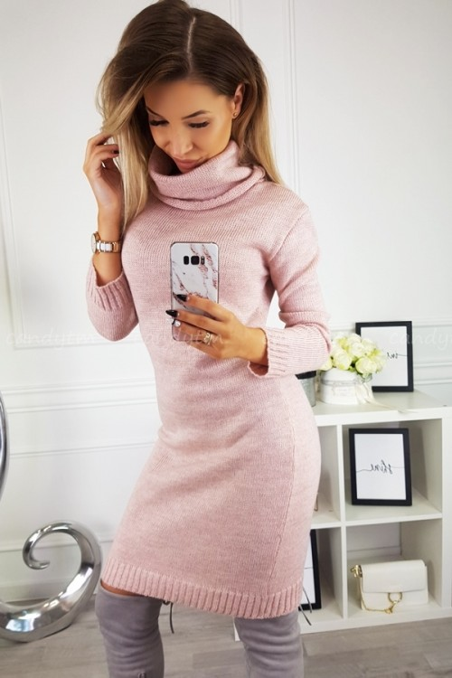 SWEATER/DRESS WITH TURTLENECK CANDY POWDER PINK 6
