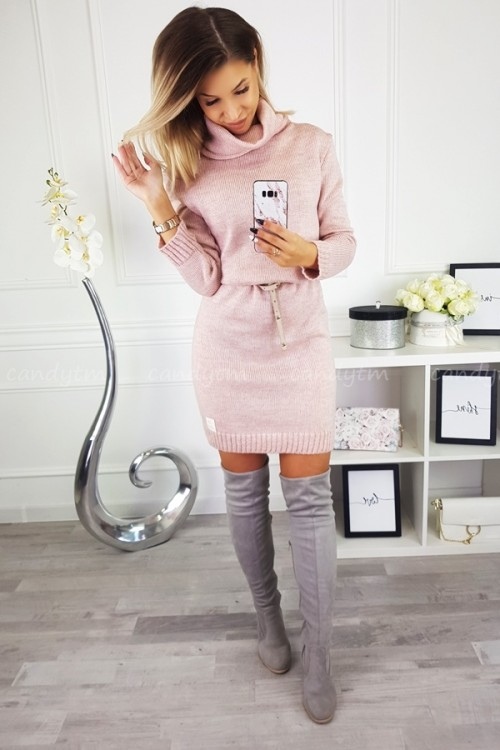 SWEATER/DRESS WITH TURTLENECK CANDY POWDER PINK 8