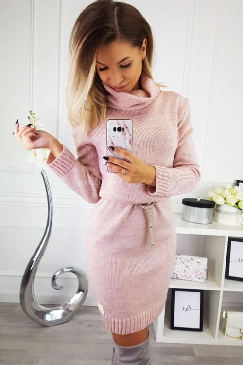 SWEATER/DRESS WITH TURTLENECK CANDY POWDER PINK 9