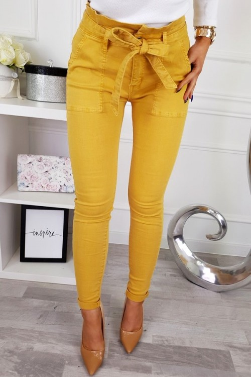 TROUSERS HIGH MUSTARD