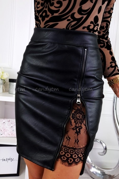 MINI SKIRT ZIP + LACE BLACK