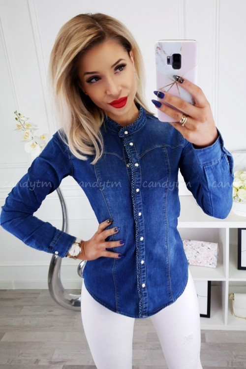 JEANS SHIRT STAND UP COLLAR