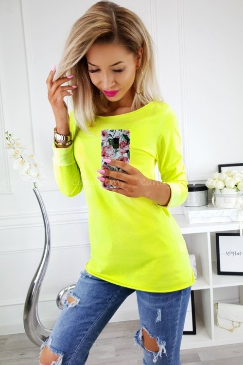 T-SHIRT COTTON LONG NEON ŻÓŁTY