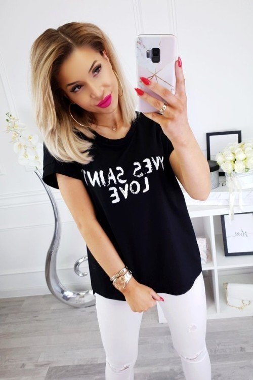 T-SHIRT YVES SAINT LOVE CZARNY