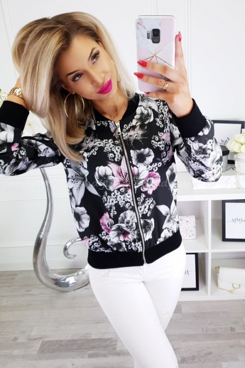 BOMBER JACKET WITH FLOWERS BLACK