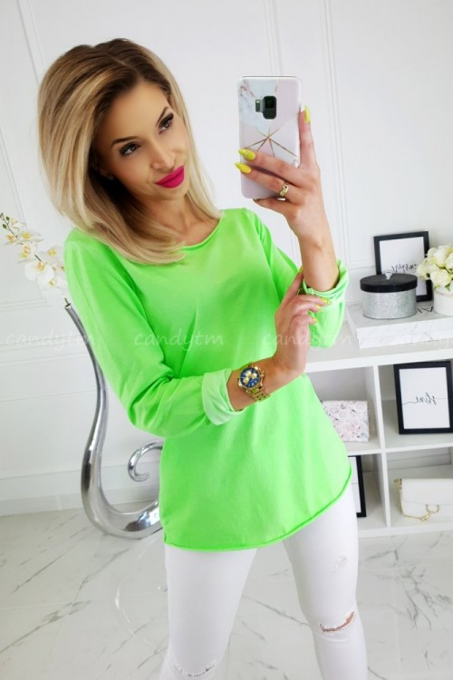 T-SHIRT COTTON LONG NEON ZIELONY