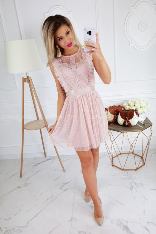 TULLE DRESS WITH POLKA DOTS NUDE/PINK 1