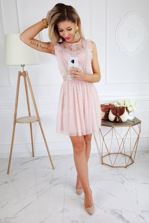TULLE DRESS WITH POLKA DOTS NUDE/PINK 2