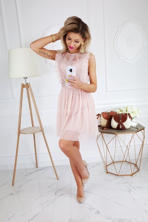 TULLE DRESS WITH POLKA DOTS NUDE/PINK 4
