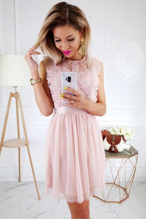 TULLE DRESS WITH POLKA DOTS NUDE/PINK 5