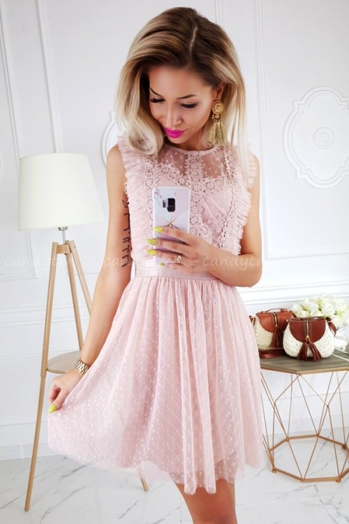 TULLE DRESS WITH POLKA DOTS NUDE/PINK 6