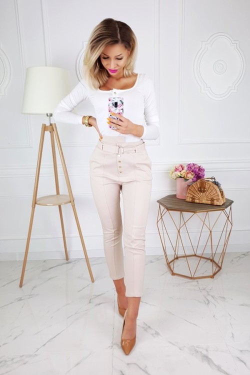 TROUSERS EXCELLENCE HIGH WAIST BEIGE