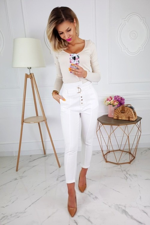 TROUSERS EXCELLENCE HIGH WAIST CREME