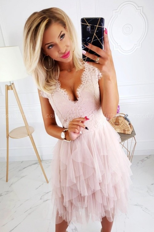 MINI DRESS PRINCESSA TULLE BEIGE