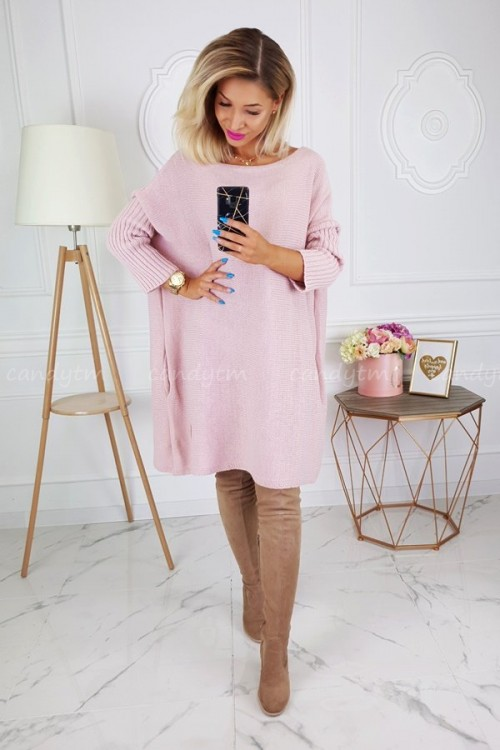 SWEATER DRESS SQUARE PINK
