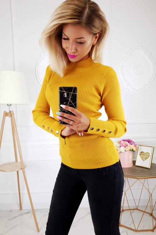 RIBBED BLOUSE TURTLENECK BUTTONS MUSTARD