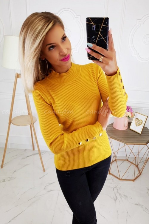 RIBBED BLOUSE TURTLENECK BUTTONS MUSTARD 2