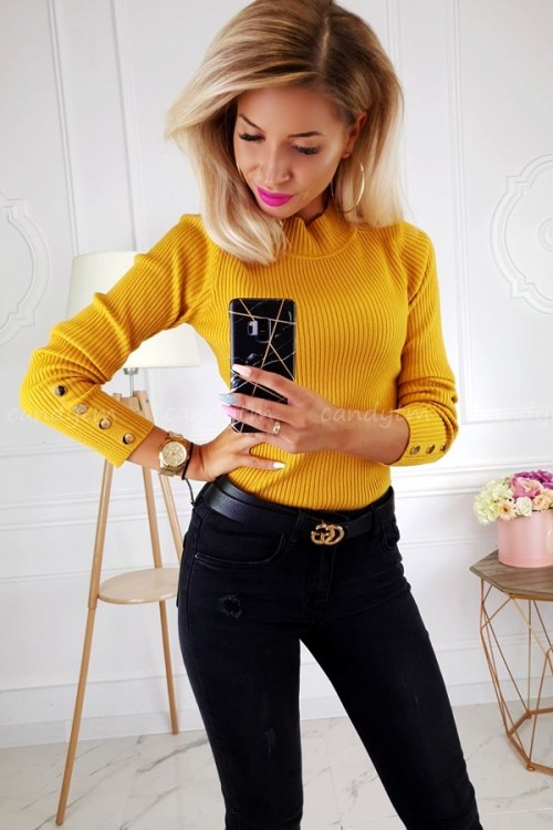 RIBBED BLOUSE TURTLENECK BUTTONS MUSTARD 3