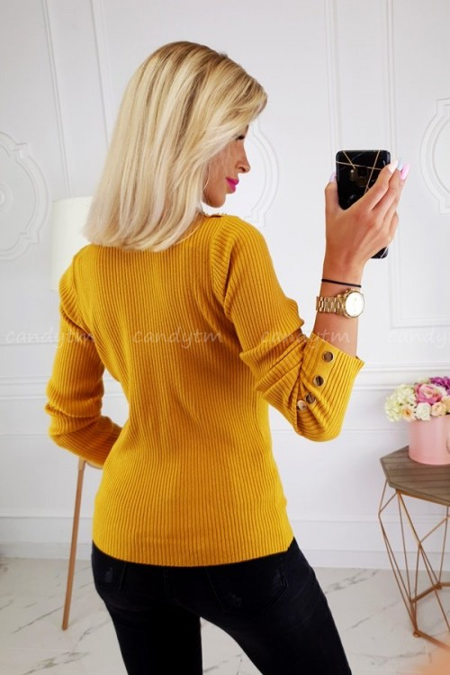 RIBBED BLOUSE TURTLENECK BUTTONS MUSTARD 6