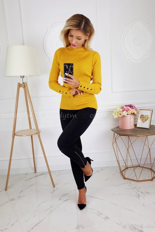 RIBBED BLOUSE TURTLENECK BUTTONS MUSTARD 1