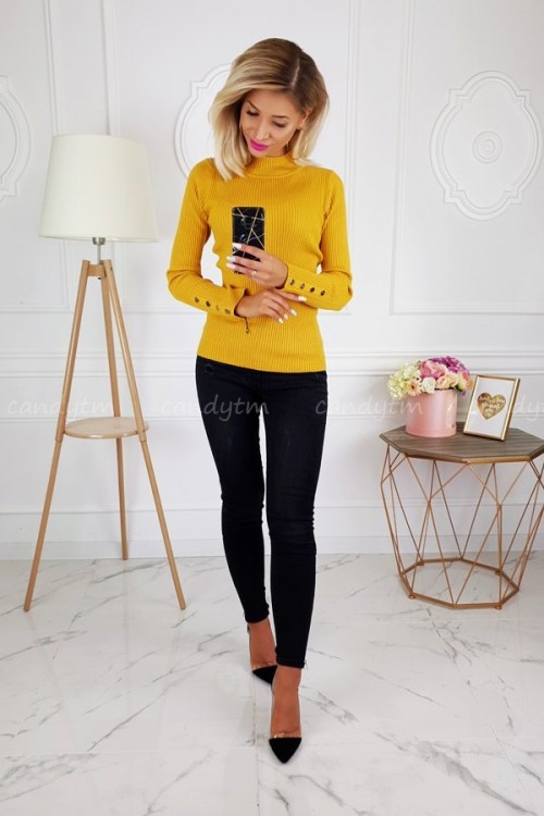 RIBBED BLOUSE TURTLENECK BUTTONS MUSTARD 4
