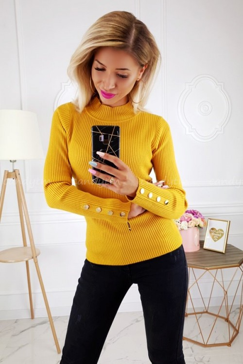 RIBBED BLOUSE TURTLENECK BUTTONS MUSTARD 5