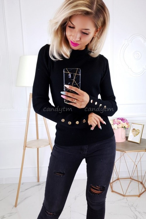 RIBBED BLOUSE TURTLENECK BUTTONS BLACK