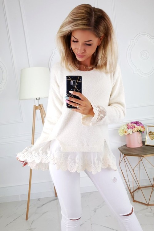 SWEATER WITH LACE ECRU