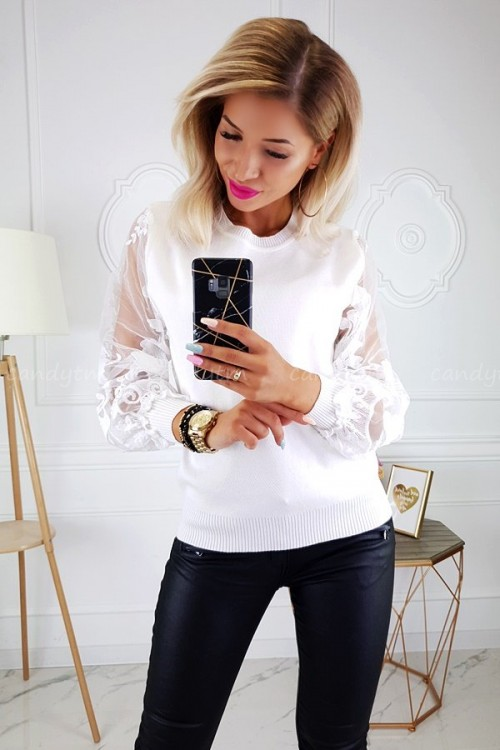 SWEATER CREME LACE SLEEVES