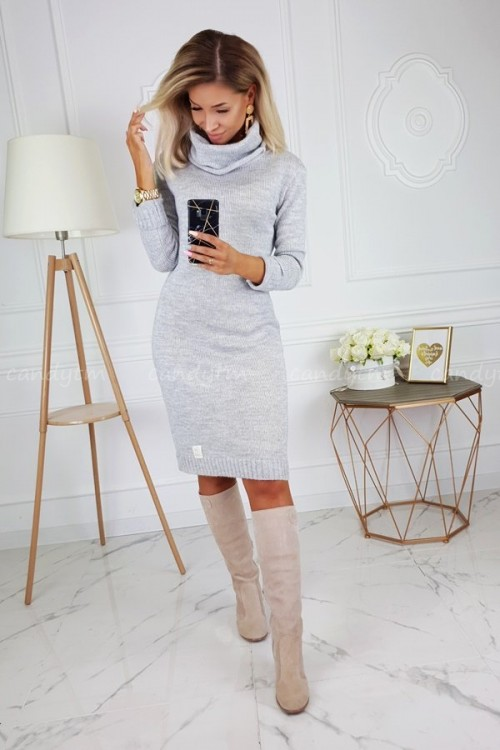 SWEATER DRESS CANDY WITH TURTLENECK LIGHT GREY