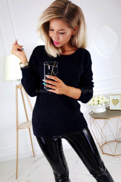 SWEATER FLUFFY V-NECK BLACK
