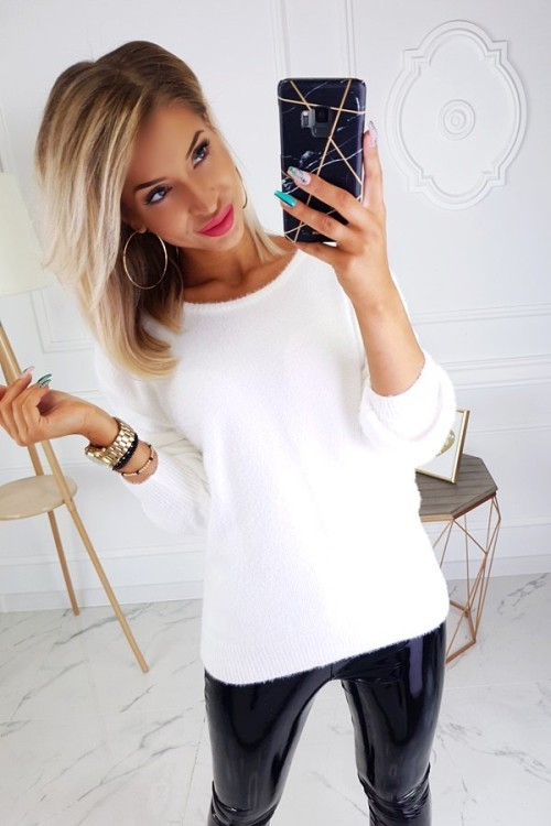 SWEATER FLUFFY V-NECK CREME