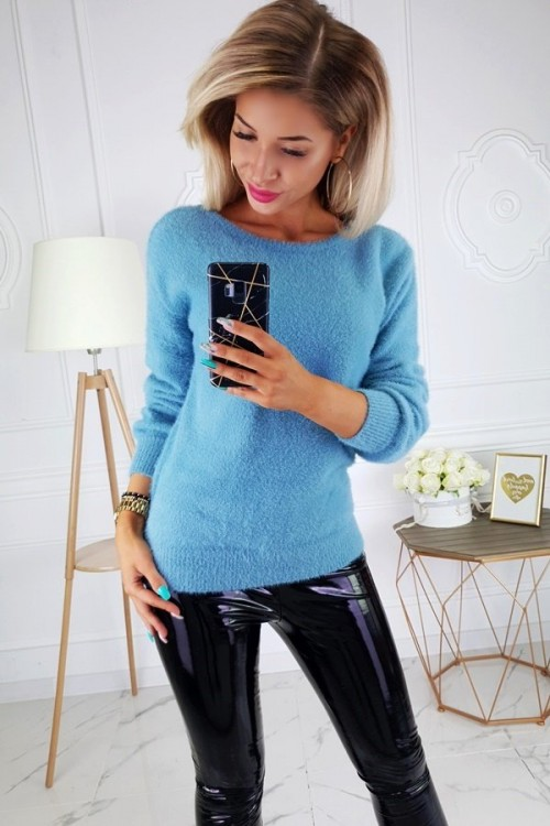 SWEATER FLUFFY V-NECK SEA COLOR