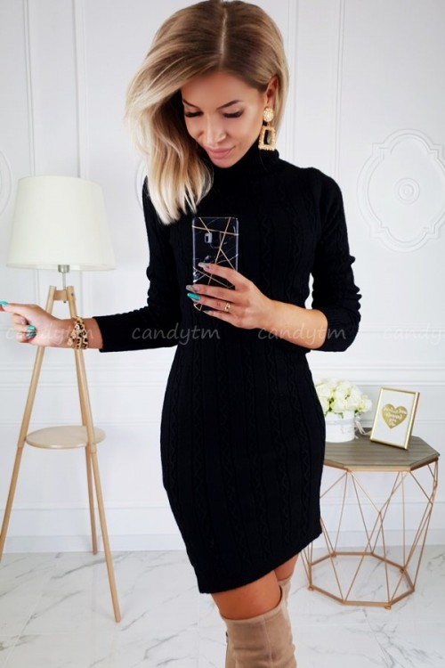 SWEATER/DRESS LUIZA TURTLENECK BLACK