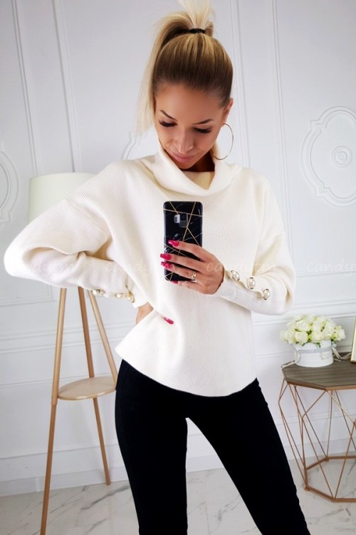 SWEATER WITH PEARLS CREME