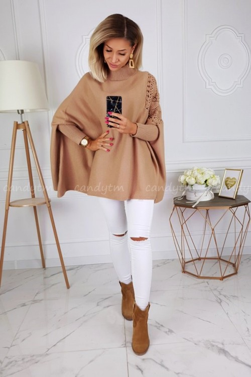 SWEATER SQUARE TURTLENECK CAMEL