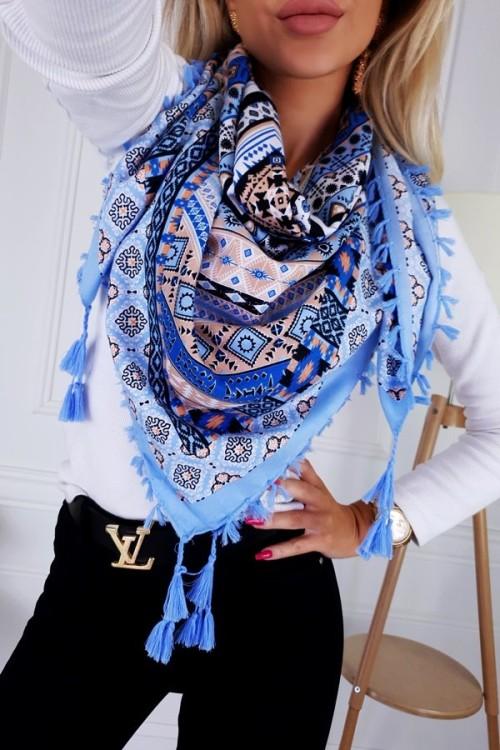 SHAWL AZTEC BLUE