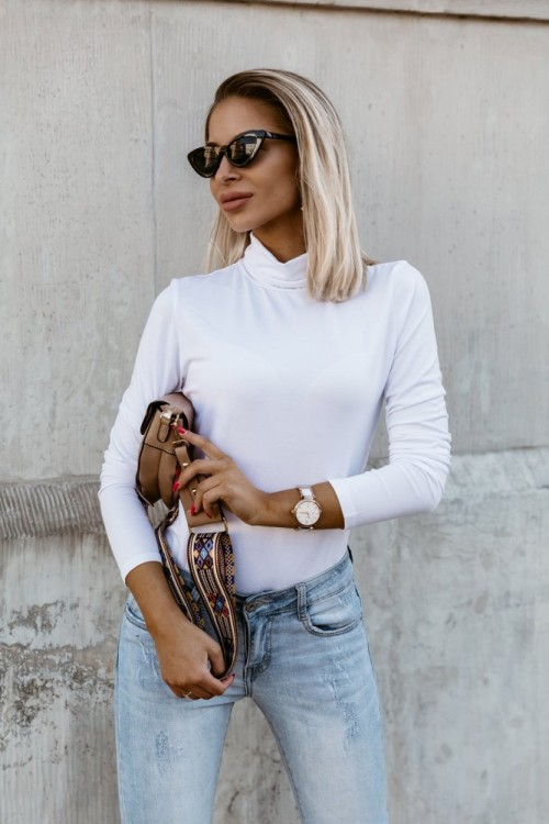 TURTLENECK BLOUSE VISCOSE WHITE