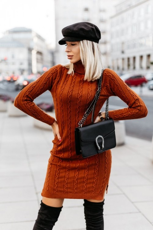 TURTLENECK SWEATER/ DRESS LUIZA BROWN